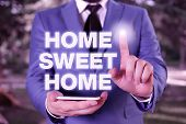 Conceptual Hand Writing Showing Home Sweet Home. Business Photo Showcasing In House Finally Comforta poster