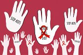World Aids Day Concept. Aids Awareness Red Ribbon. Hand Gusture Stop Aids Vector Illustration poster