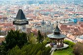 View At Graz City From Schlossberg Hill, City Rooftops, Mur River And City Center, Clock Tower. poster