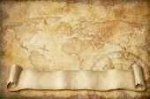 vintage world map with old scroll illustration based on image furnished by NASA poster