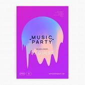 Music Flyer. Feminine Trance Event Magazine Design. Fluid Holographic Gradient Shape And Line. Elect poster