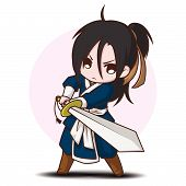 Cute Boy Cartoon In Chinese Battle Master Costume. poster