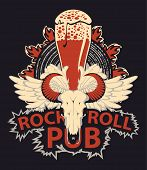 Vector Banner With Lettering Rock And Roll Pub, Bull Skull, White Wings, Beer Glass, Speaker And Fir poster