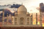 Sunset Over Taj Mahal Mausoleum