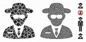 Secure Agent Mosaic Of Raggy Pieces In Different Sizes And Shades, Based On Secure Agent Icon. Vecto poster