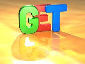Word Get On Yellow Background