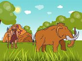 Ancient Caveman Standing On Field Near Cave. Historic Primitive Dweller, Anciently Human Of Stoneage poster