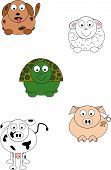 foto of polly  - A dog sheep turtle cow and pig in cartoon style - JPG