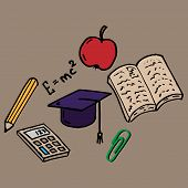 Set On A School Theme. Vector Illustration Of A Textbook, Calculator, Apple And Pencil Set On A Scho poster