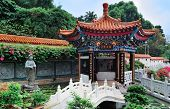 Chinese temple in Hong Kong with pagoda style architecture