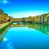 Ponte Vecchio Landmark, Old Bridge, Arno River In Florence. Tusc
