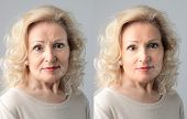 stock photo of wrinkled face  - portraits mature woman before and after anti - JPG