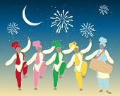 image of salwar-kameez  - an illustration of a group of colorful punjabi dancers with drummer under a festive night sky - JPG