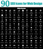 90 SEO Icons for Web Design - White Version