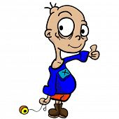 cartoon illustration of a boy with yoyo and thumbs up