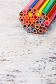 stock photo of end rainbow  - The ends of color pencils with space for your text - JPG