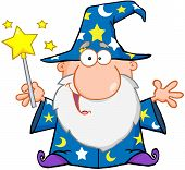 stock photo of merlin  - Funny Wizard Waving With Magic Wand Cartoon Character - JPG