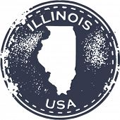 Vintage Style Illinois USA State Stamp