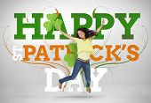 foto of st patty  - Artistic st patricks day message with jumping girl and shamrocks - JPG