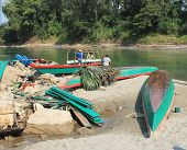 Boats On The Usumacinta River At Yaxchilan, Mexico