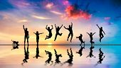 picture of jumping  - Happy group of friends - JPG