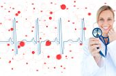 Blonde doctor holding up stethoscope to blue ECG line on red chemical formula background