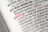 picture of policy  - Policy definition in the dictionary - JPG