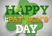 pic of st patty  - Artistic st patricks day message with large shamrock on grey background - JPG