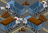 Isometric Containers Trucks