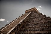 stock photo of ziggurat  - a Ziggurat in Chichen Itza Yucatan Mexico - JPG