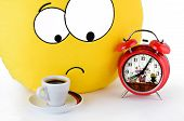 Big Yellow Smile, A Cup Of Coffee And An Alarm Clock