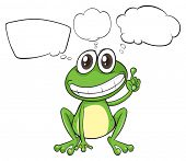 Illustration of a small frog with empty callouts on a white background