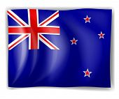 Illustration of the flag of New Zealand on a white background