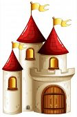 picture of yellow castle  - Illustration of a castle with yellow banners on a white background - JPG