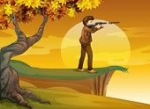 Illustration of a boy holding a gun near the tree