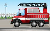 Illustration of a fire truck at the street
