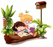 Illustration of the two young girls near the wooden mailbox on a white background