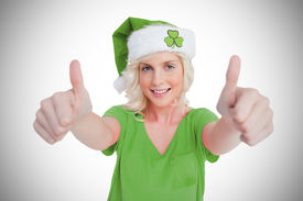 picture of st patty  - St patricks day girl giving thumbs up on vignette background - JPG