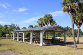 picture of hughes  - A dozen wood picnic tables covered by an open building in Hugh Taylor Birch State park in Fort Lauderdale Florida surrounded by grass palm and other trees and plants on a sunny autumn day - JPG