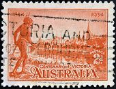 Stamp shows the Yarra Yarra Tribesman Yarra River and View of Melbourne Centenary of Victoria