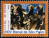 stamp printed in Brazil dedicated to Sao Paulo Biennial shows The Raft of the Medusa by Asger Jorn