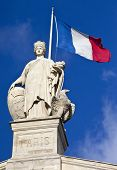 Statue And French Flag In Paris