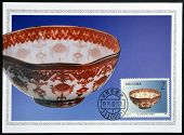 A stamp printed in China shows octogonal glod-traced eggshell bowl of modern times