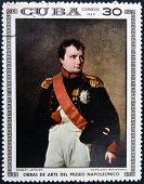 Stamp dedicated to Artworks Napoleon Museum shows Napoleon Bonaparte by Robert Lefevre