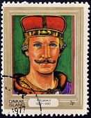 stamp printed in Davaar Island dedicated to the kings and queens of Britain shows King William II