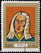 stamp printed in Davaar Island dedicated to the kings and queens of Britain shows King George II
