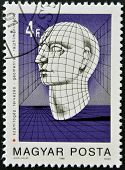 HUNGARY - CIRCA 1988: stamp printed in Hungary shows Graphic of Human Head circa 1988