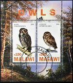 MALAWI - CIRCA 2010: Stamps printed in Malawi dedicated to owls circa 2010