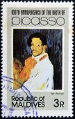 stamp printed in Malldives Islands shows self portrait by Pablo Ruiz Picasso