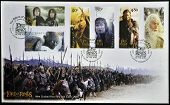 stamp printed in New Zealand dedicated to The Lord of the Rings shows the characters in the movie